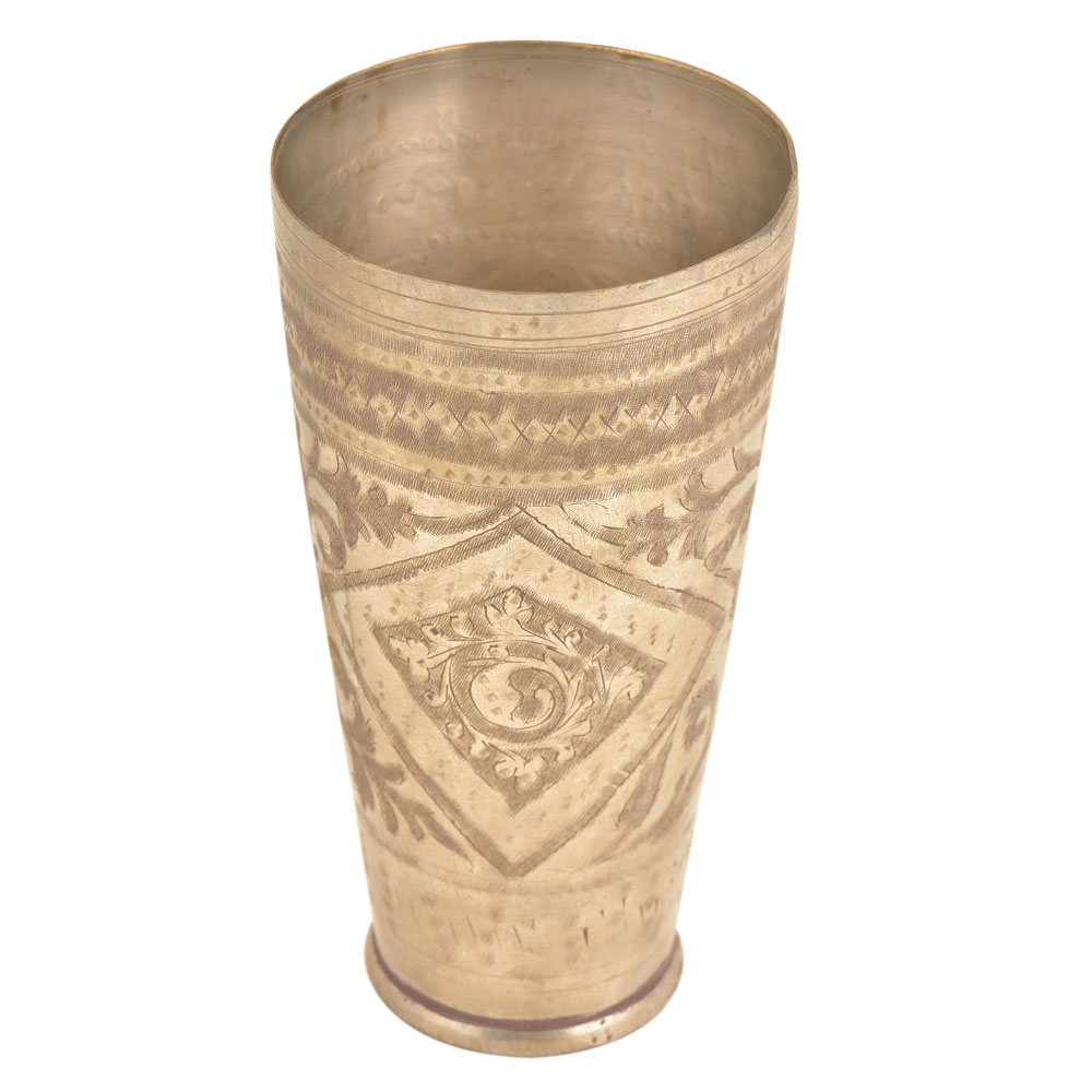 Indian Vintage Design Carving Brass Lassi Glass