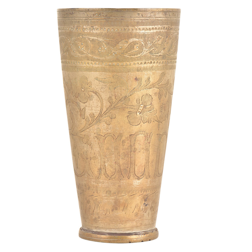 Brass Traditional Carved Design Punjabi Lassi Glass