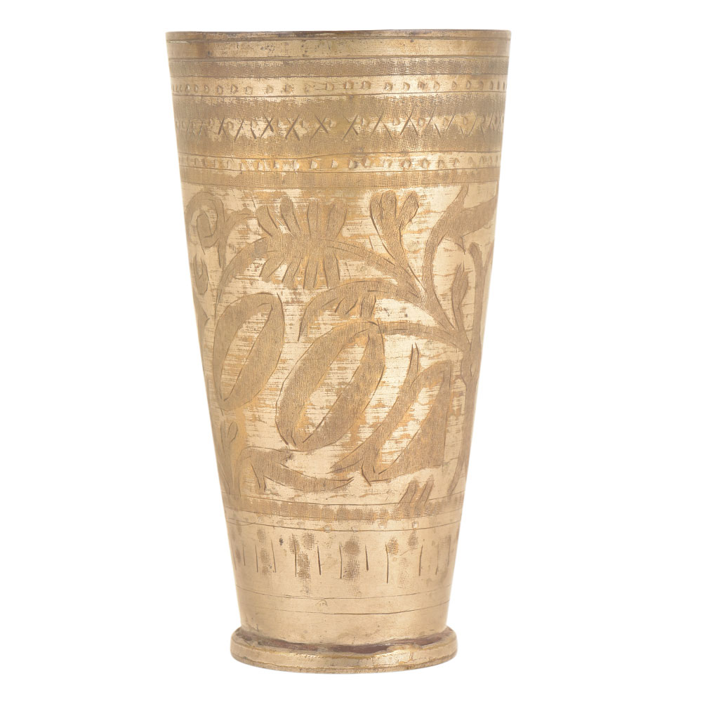 Good Carved Floral Design Brass Punjabi lassi Glass
