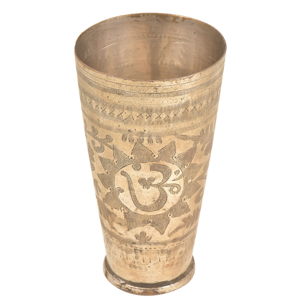 Om Carved Floral Punjabi Brass Lassi Glass Kitchenware