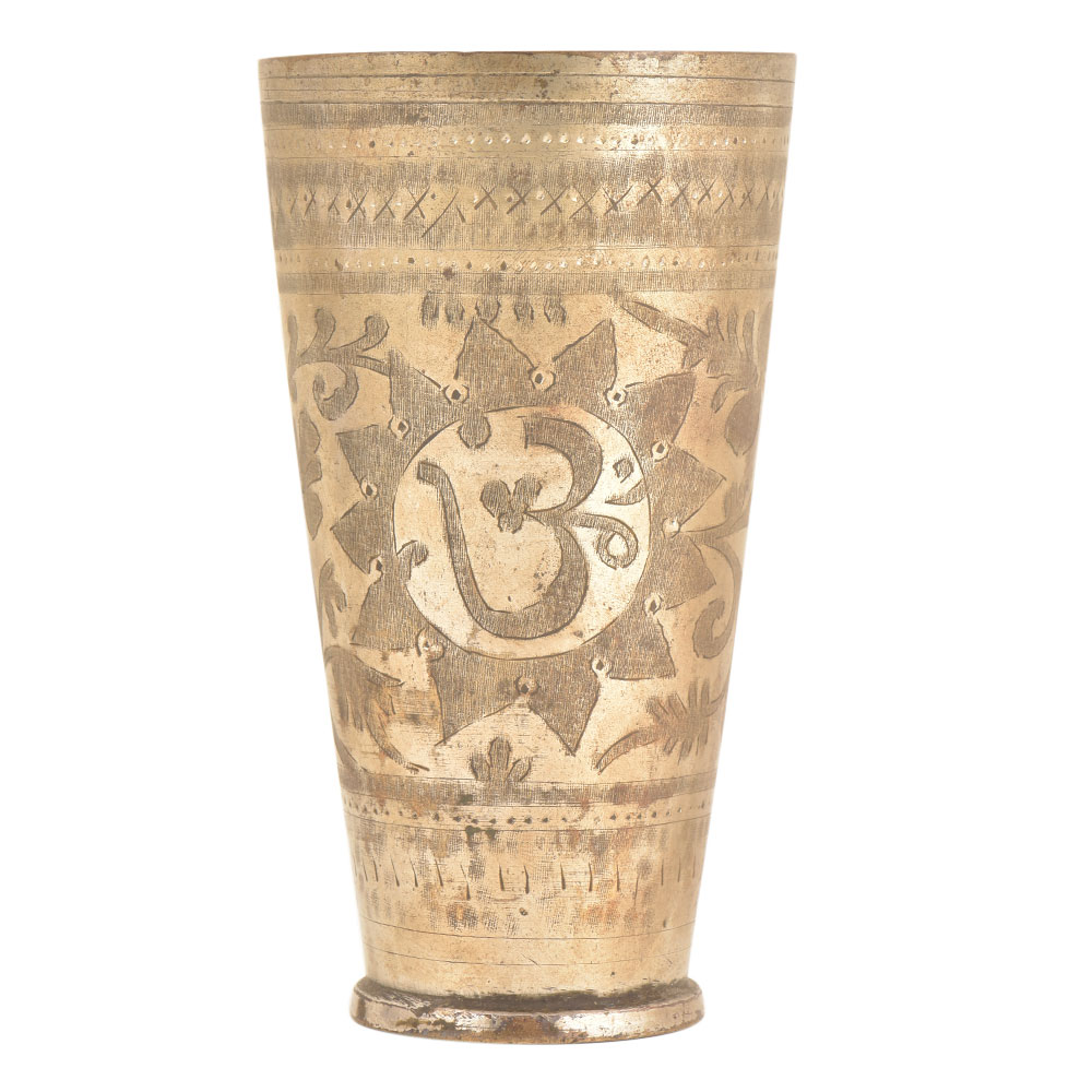 Om Carved Floral Punjabi Brass Lassi Glass Kitchenware