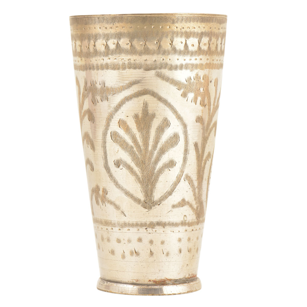 Leafy pattern Oval design Etched Brass Punjabi Tumbler Cup Glass