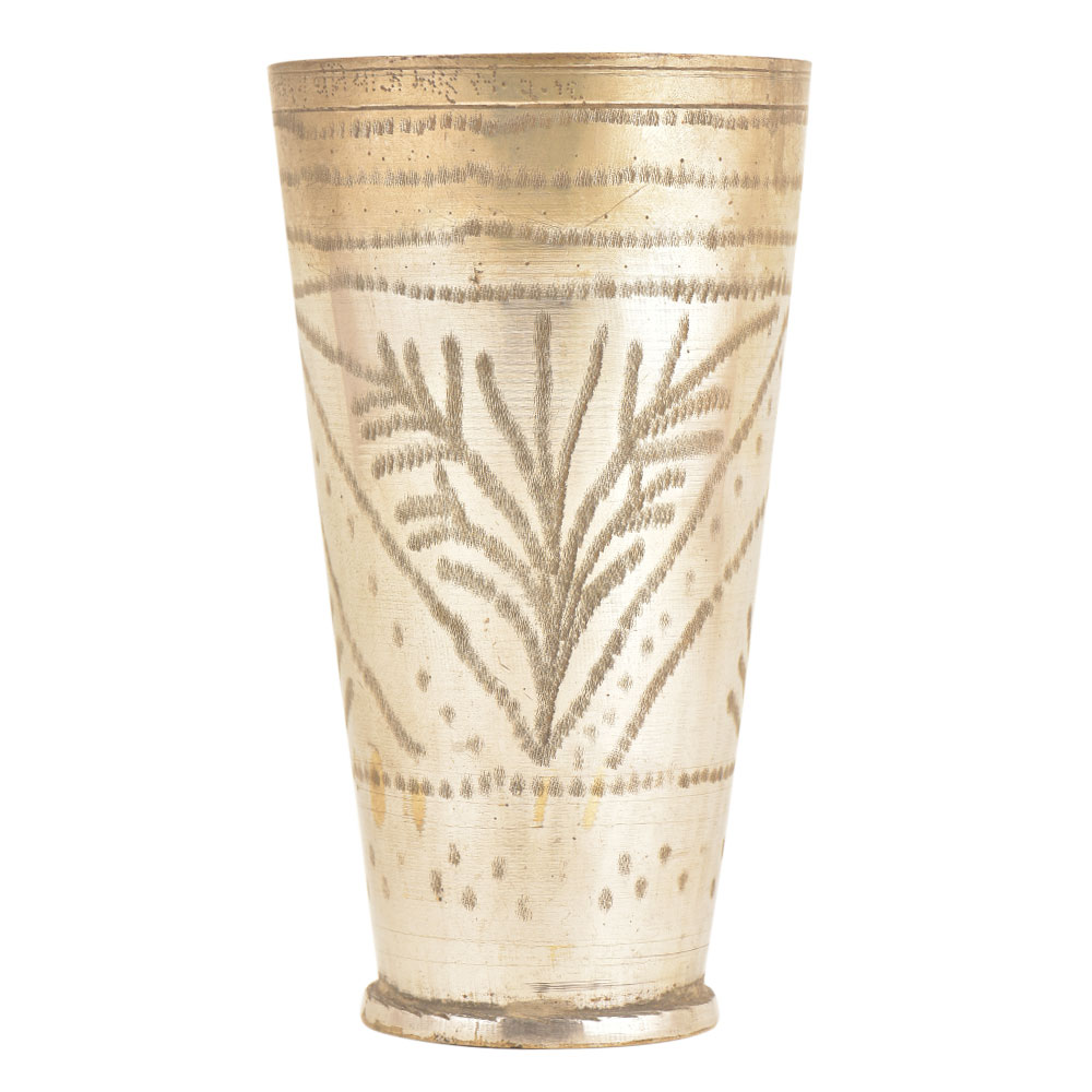 Silver Polished Brass Traditional Floral Designed Punjabi Lassi Glass