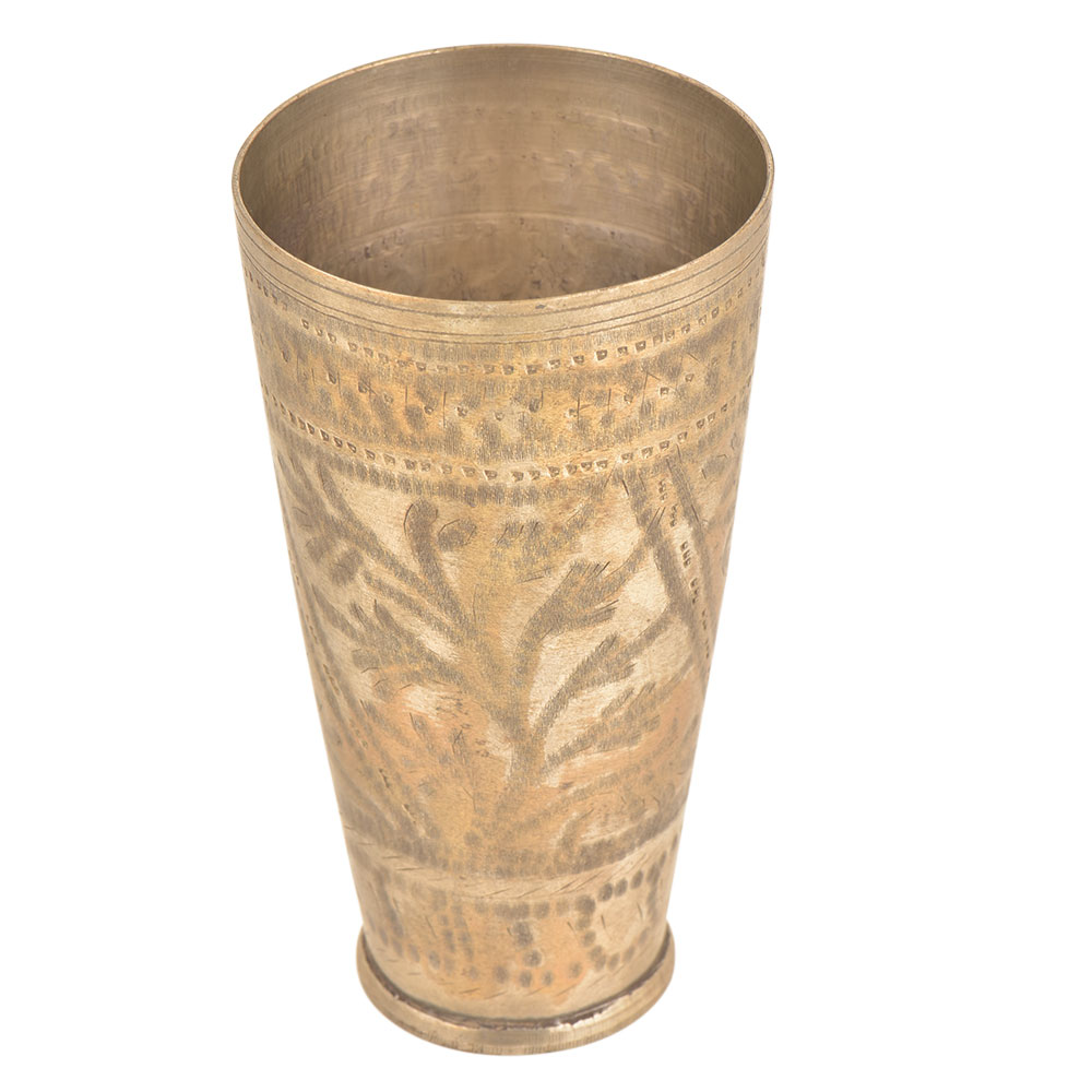 Leafy Pattern Faded Design North Indian Brass Cup Lassi Glass