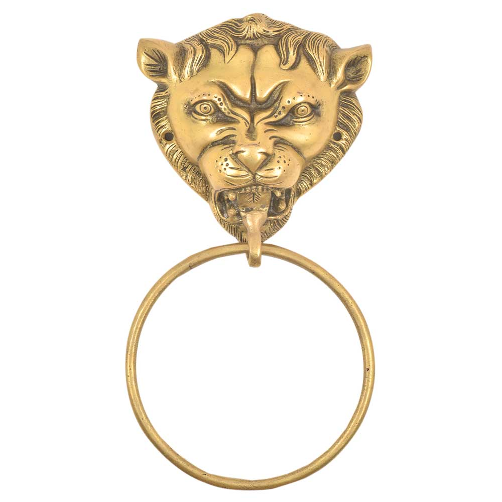 Brass Lion Head Towel Ring Bathroom Kitchen Hardware