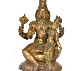 Brass Laxmi Narsimha Statue With Laxmi On His Lap