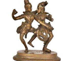 Brass Dancing Radha Krishna Statue