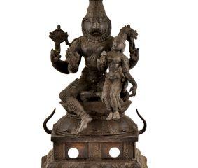 Black Brass Lord Narsimha With Lakshmi