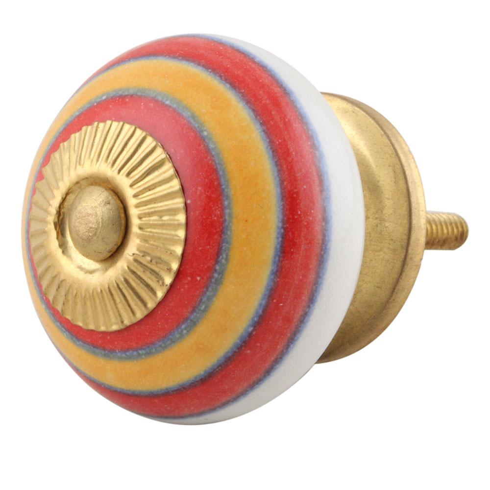 Orange Red Striped Knob