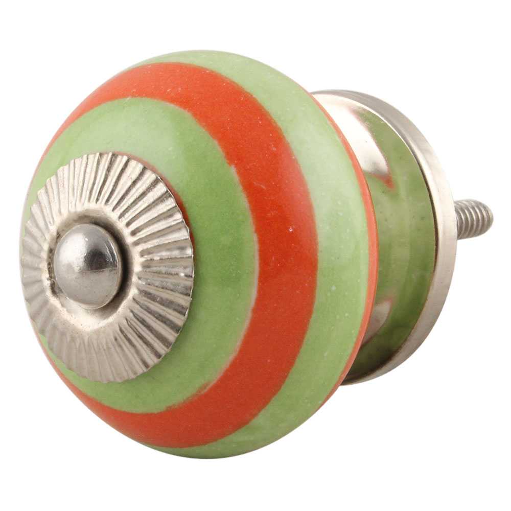 Green Orange Striped Knob