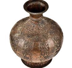 Indian Handmade Copper Repousse Floral Pot or Vase