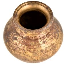 Handmade Brass Carved  Floral and Leaves Design Pattern Pot