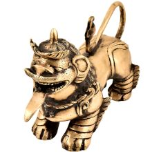 Handmade Brass Foo Dogs  Armored Lion Temple Guardian Statue