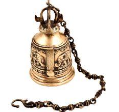 Hand Crafted Brass Engraved Elephant Mandir Hanging Bell
