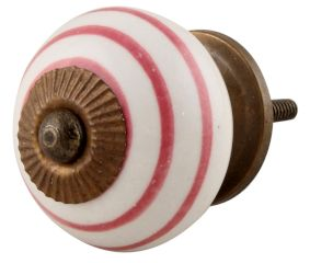 White Knob Pink Striped