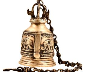 Hand Crafted Brass Engraved Elephant Mandir Hanging Bell