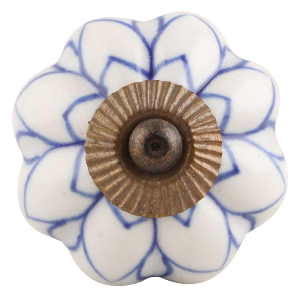 Blue Lotus Ceramic Knob