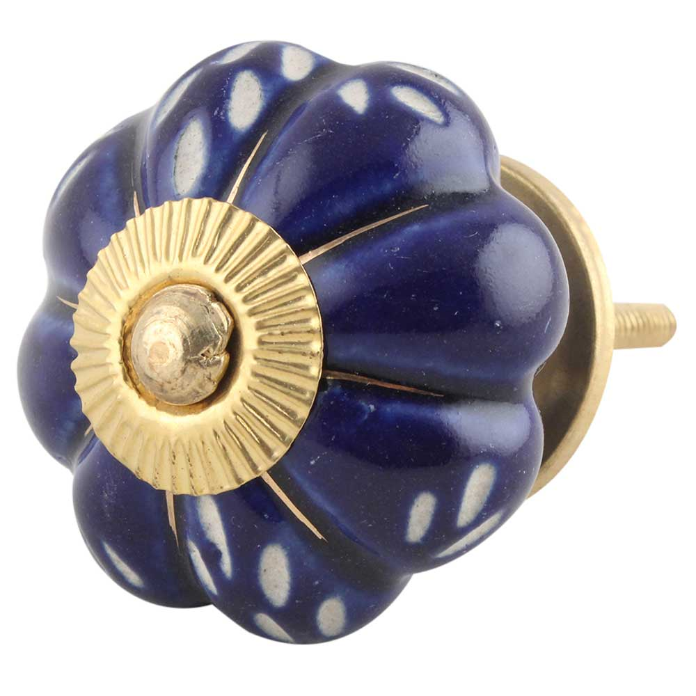 Royal Blue Engraved Melon Knob