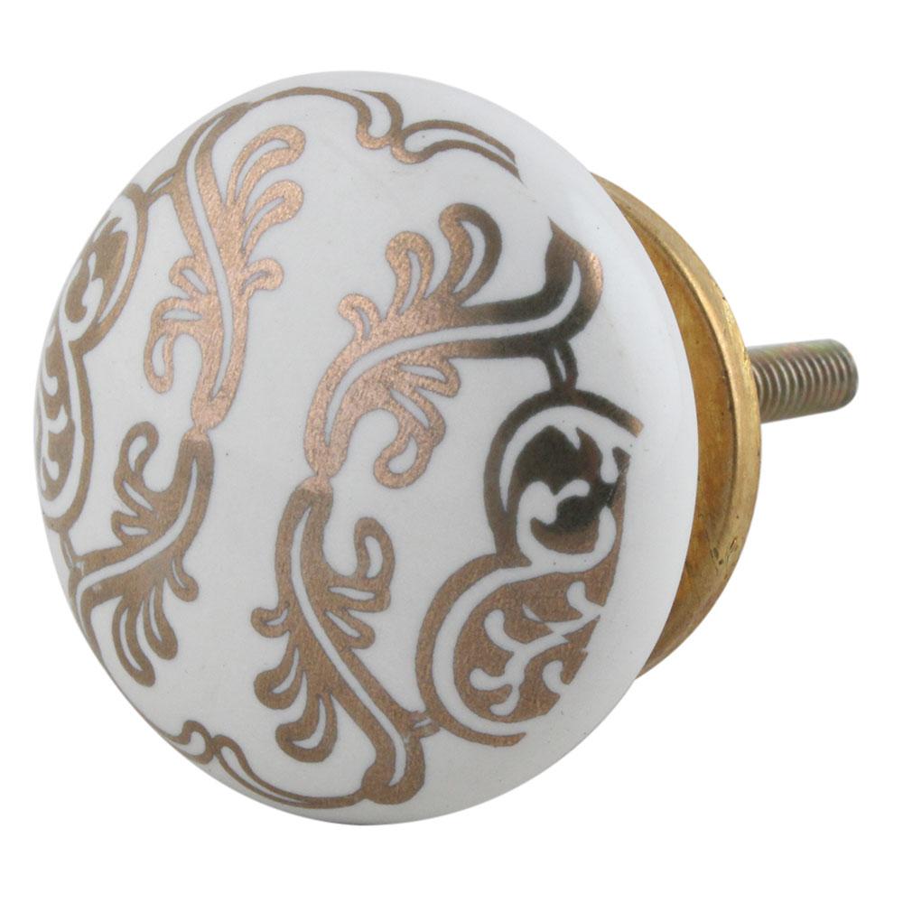 Golden Floral Pattern Flat Ceramic Cabinet Knob