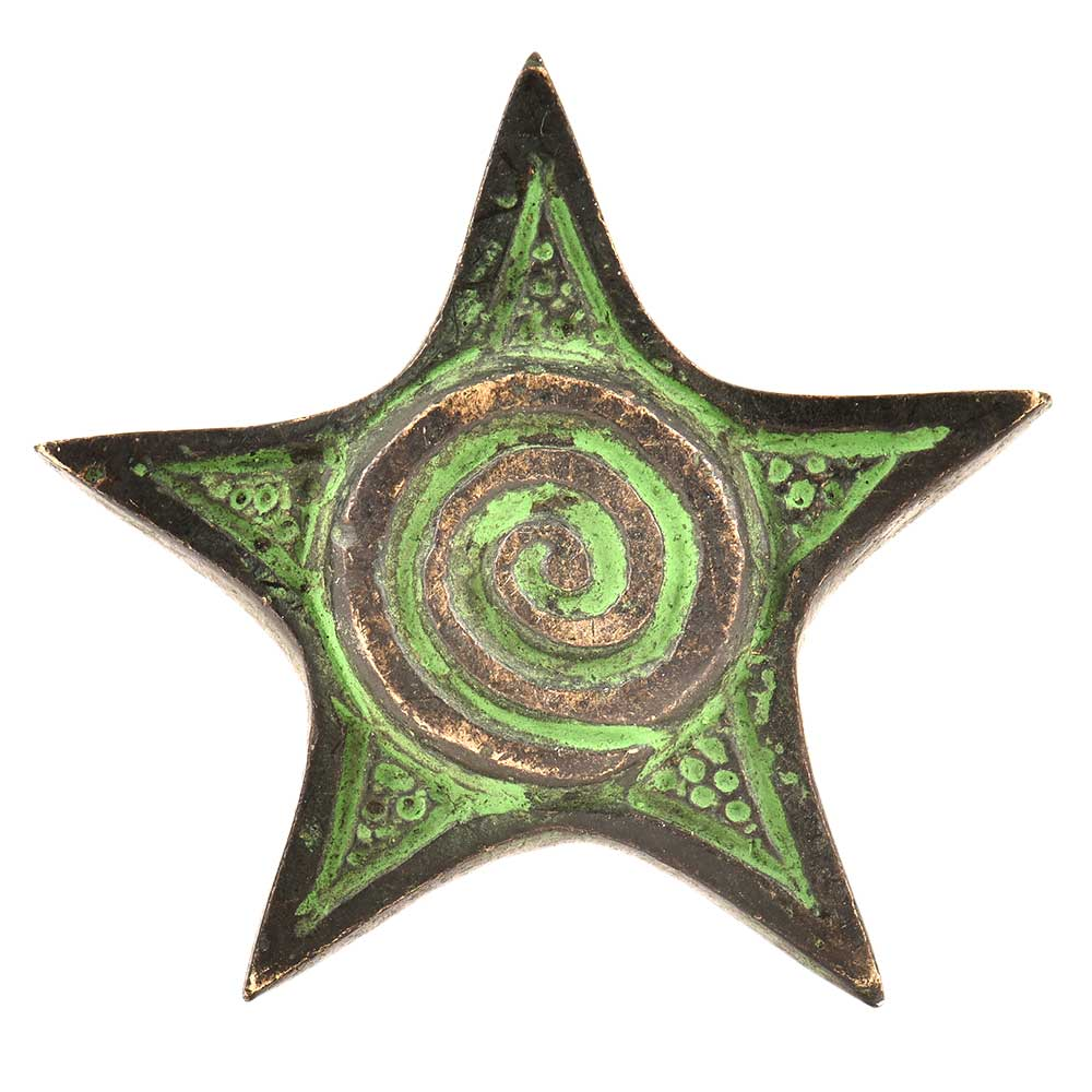 Hand Made Brass Star Spiral Cabinet Hardware With Green Patina