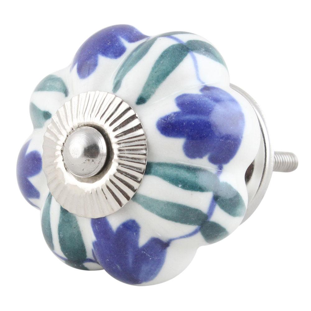 Blue Rose Ceramic Knob