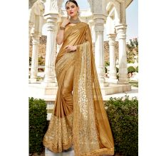 Golden Lycra Embroidery Saree with Blouse Piece