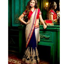 Multicolor Party Wear  Embroidered Georgette Saree with Blouse Piece