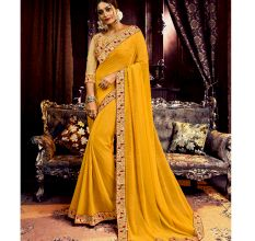 Georgette Solid Ruffle Saree (Yellow) With Heavy Embroidered Blouse