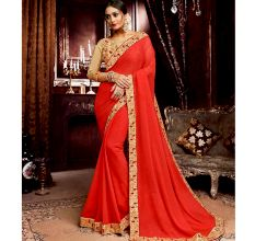 Georgette Solid Ruffle Saree (Red) With Heavy Embroidered Blouse