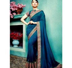 Dark Blue Vichitra Silk Saree With Banglori silk Blouse Piece