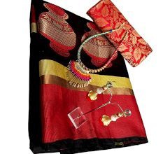 Black Cotton Silk Matka Saree