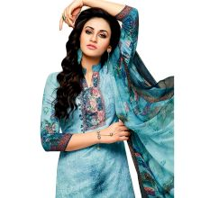 Sky Blue Glaze Cotton Printed Women's Aari Work Salwar Suit