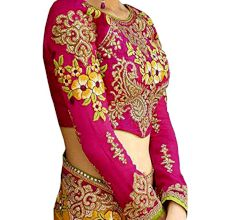 Georgette Saree With Blouse Piece in Yellow and Pink