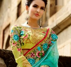 Sky Blue And Yellow Embroidered  Georgette Saree With Blouse Piece