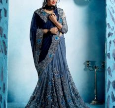 Grey Synthetic Saree with Blouse Piece
