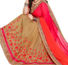 Pink Georgette Embroidered Saree with Blouse Piece