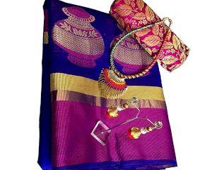 Navy Blue Cotton Silk Matka Saree