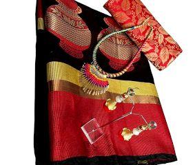 Black Cotton Silk Matka Saree