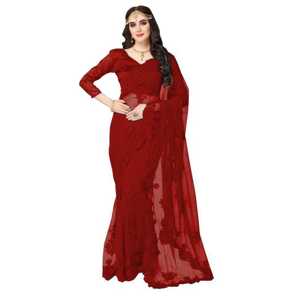 Red Imported Fabric Designer Frill Ruffle Saree