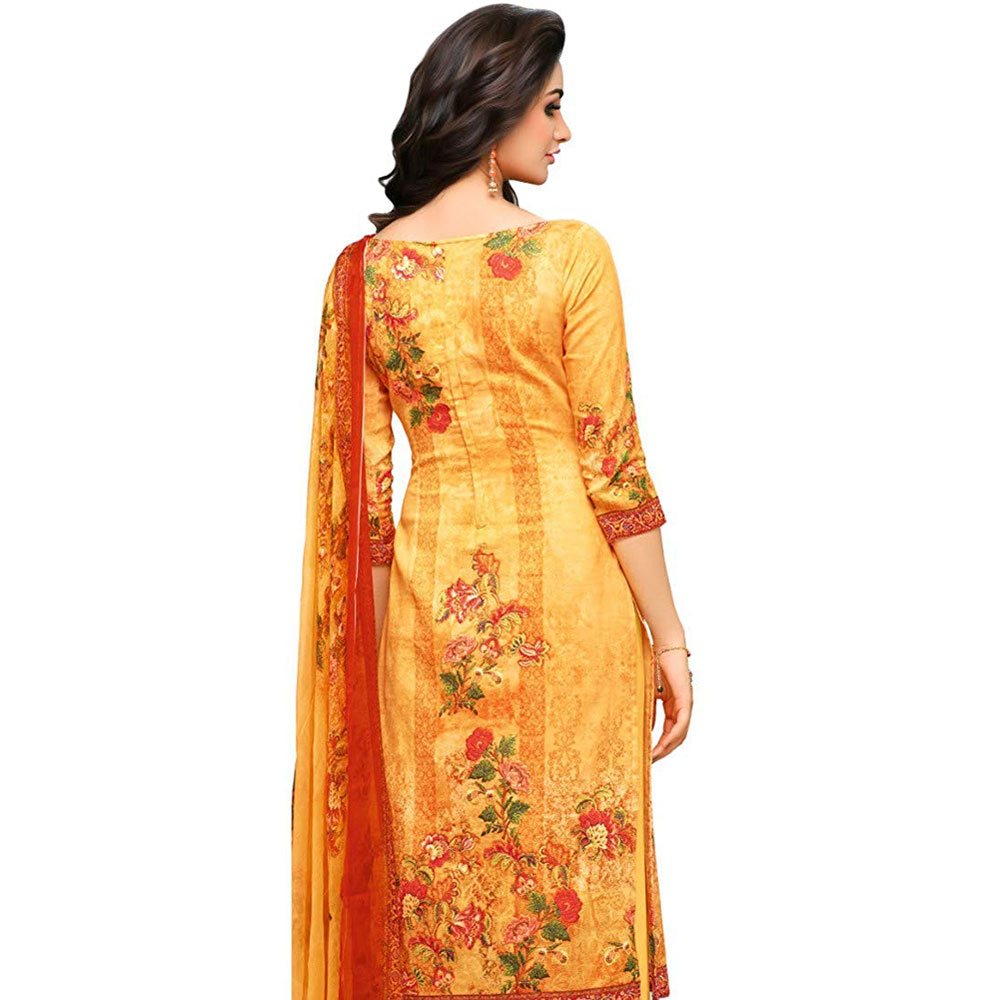 Yellow Glaze Cotton Printed Women's Aari Work Salwar Suit