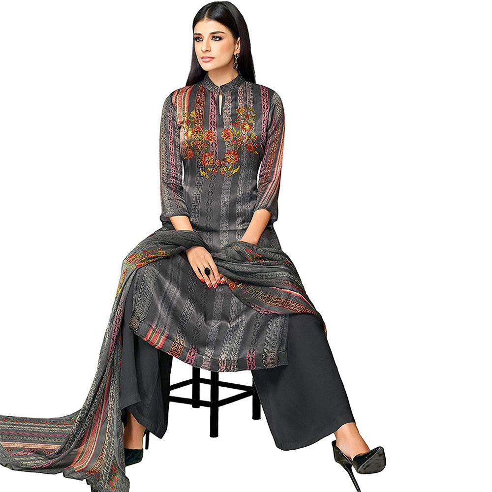 Grey Satin Cotton Printed Women's Unstitched Dress Materia