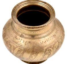 Hindu Religious Engraved Floral Design Bulbous Form Water Pot