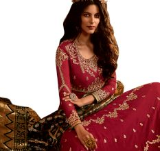 Red Embroidered Semi-Stitched Anarkali Suit