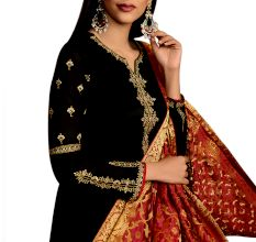 Black Satin Georgette Heavy Work Salwar Kameez Suit With Banarsi Silk Dupatta