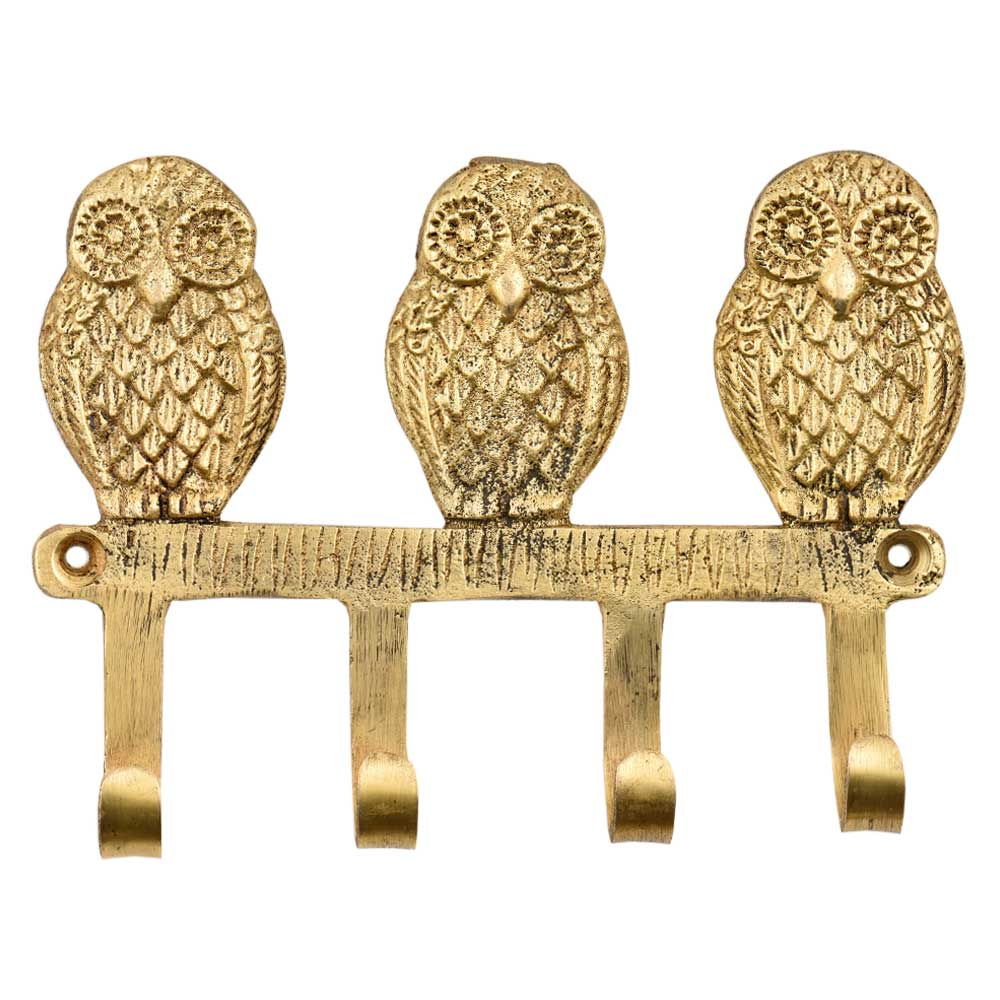 Handmade Brass Wise Owl Wall Hanger With 4 Hooks