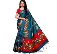 Blue With Red Kathak Women's Khadi Silk Printed Saree With Blouse Piece