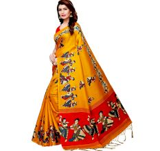 Yellow Kathak Women's Khadi Silk Printed Saree With Blouse Piece