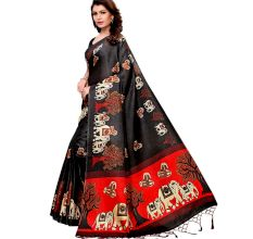 Black Baraat Casual Khadi Silk Printed Kalamkari Saree With Blouse Piece Tessle