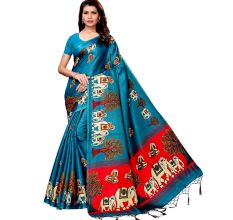 Sea Green Baraat Casual Khadi Silk Printed Kalamkari Saree With Blouse Piece Tessle
