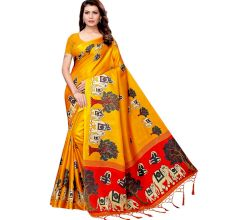 Yellow Baraat Casual Khadi Silk Printed Kalamkari Saree With Blouse Piece Tessle